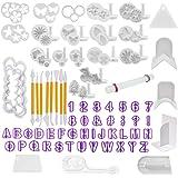QLOUNI Fondant uitsteekvormpjes, 114 stuks, fondant, uitsteekvormen voor letters, cijfers, rozenbloemvormen, set voor taarten