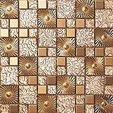 Patrón cobre Mosaico de vidrio de acero inoxidable Azulejos de mosaico color mixto acero inoxidable mosaico 300*300mm Cocina backsplash / ducha de pared de la pared de la pared / Hotel pasillo pared de la frontera / piso residencial de piso y aplicaciones de la pared SA073-43 (1 pieza)