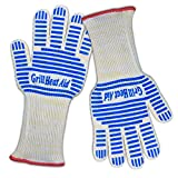 #1 Oven Gloves - 13 inch Long to Protect Half of Your Forearms - Defy Heat up to 932°F – Set of 2 Small/Medium Size BBQ & Grill Heat Resistant Gloves – Cooking Gloves Insulated By Aramid Fiber with 100% Cotton Lining Provides Comfort for Baking - Five Fingers Heatproof Kitchen Gloves Set - Use As Oven Mitt, Pot Holders, Barbecue & for Fireplace. Order Now for Safest Hand & Arm Protector Guaranteed!