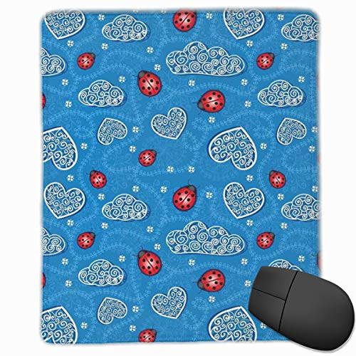 Preisvergleich Produktbild Mouse Mat Stitched Edges,  Ladybugs And Ornate Clouds Magic In The Air Pure Hope Creatures Art Design Print, Gaming Mouse Pad Non-Slip Rubber Base
