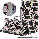 HUDDU Bunt Schutzhülle Hülle Katze Muster Slim Handyhülle Leder Tasche Wallet Case Cover Flip Kartenfach Magnetic Stand für Huawei Mate 10 Lite Klapphülle Schwarz