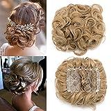 TESS Haargummi Haarteil Dutt Synthetik Haare für Haarknoten Zopf Gummiband Hochsteckfrisuren Haarband Hell-Lichtblond/Honigblond