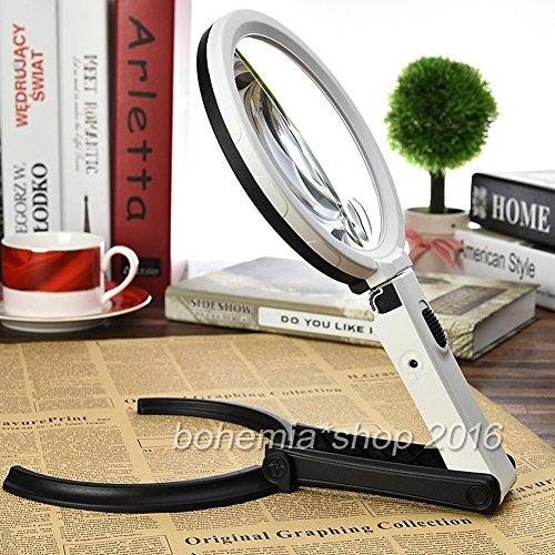 Preisvergleich Produktbild EMOTREE 2x 5x Fach Leuchtlupe Handlupe Leselupe Tischlampe 12 LED Vergrößerungsglas Tischlupe
