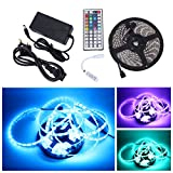 Fanshop Waterproof SMD 5050 RGB LED Strip Light Flexible LED Ribbon 5 Meters 300 LEDs + 44 Mini Key IR Controller + 12V 5A AC Adapter. Ideal For Gardens,Homes,Kitchen,Cars,Bar,DIY Party Decoration Lighting - Fanshop - amazon.co.uk