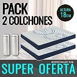 DormiPremium Pack 2 COLCHONES VISCOELASTICO Dallas Slim Especial 140X200 Altura 18 cm, (3cm visco