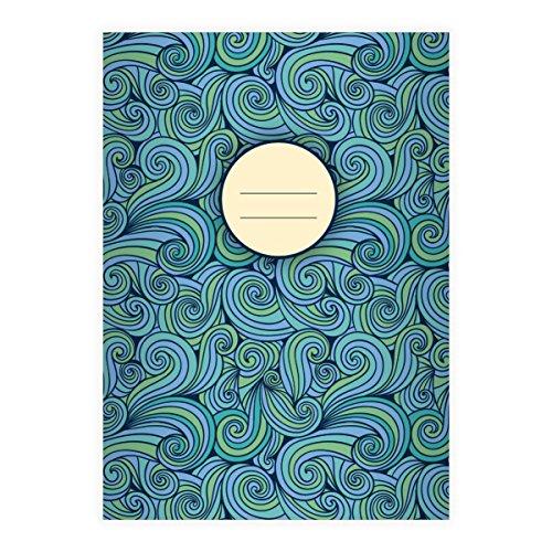 ooles 70er Jahre Doodle DIN A4 Schulheft, Schreibhefte mit Wellen in blau Lineatur 25 (liniertes Heft) ()