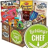 Lieblings-Chef | Ossi Produkte Schokolade | Schokolade Geschenkset L | Zetti Süßtafel, Maulwurf Ei, kalter Hund | Geburtstagsgeschenk Chef Geschenkideen mit Schokolade Präsentkörbe für Männer