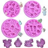 SUNSK Moldes de silicona para fondant Cortadores de galletas set decoración de pasteles dulces molde para hornear herramienta