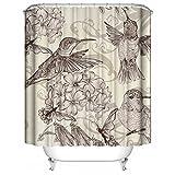 HUIYIYANG Benutzerdefinierte Duschvorhang, Tiere Series Vintage Painting Hummingbirds and FlowersWasserdichter Anti Mehltau Gewebe Polyester Badezimmer Duschvorhang 48
