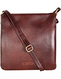 Carved Expandable Genuine Leather Women's Sling Bag - Brown