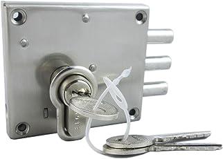 Ramson Slit N Fit Steel Finish Bullet Door Inter Lock With Knob Cyl Key Machinism ( Slit N Fit Knob Cyl Bcp )