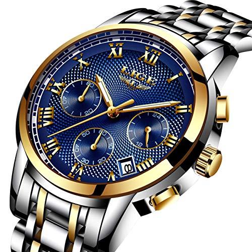 Aswan Herren Uhr Business Luxus Design Silber Edelstahl Analoge Quarz mit Silber Band Armband Gold Blau Chronograph Kalender Outdoor Sportuhr