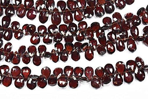 17,8cm 7x 9–8x 14mm Natur Mosambik rot Granat Edelstein facettiert Pear Form Briolette Perlen Strand