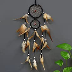 Hasthip-New Feather Crafts Brown Dream Catcher Handmade Dreamcatcher Net with Feather Beads for Wall Hanging Car Home Decor
