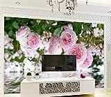 Yosot Benutzerdefinierte Stereoskopischen 3D-Tapeten Luxus Rose Garten Rosa Rose Wasser Pastorale Natur Hintergrund Küche Tapete-300Cmx210Cm