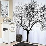 GWELL Baum Wasserdichter Duschvorhang grau Anti-Schimmel inkl. 12 Duschvorhangringe für Badezimmer 180x180cm (180*200cm, schwarz)