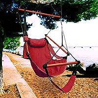 KINLO® Amaca a poltrona/Sedia sospesa da giardino con Supporto piedi,Cuscino e portabottiglie per interno e esterno, portata 100 kg, colore: Rosso