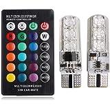 T10 5050 RGB Remote Control Car Led Bulb 6 SMD Multi color W5W 501 Side Light Bulbs Crystal Lamp