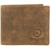 Monte Lovis Herren Leder Geldbeutel Geldbörse mit Kreditkartenetui und Ausweis Organizer - Vintage Used Look Ledergeldbeutel - Rustikale robuste faltbare Brieftasche Ledergeldbörse