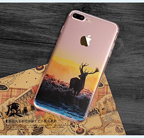 iPhone 7Plus Cover, MAOOY Bellissimo Paesaggio Modello Design Case per iPhone 7Plus, Flessibile Ultra Sottile Leggero Bumper Copertura di Soft Gomma Sveglio Cristallo Gel Antiurto Protettiva per 5.5  Alce
