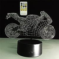 ATD® Illusione ottica 3D tirare il vento del motociclo tasto di tocco Colore 7 che cambia LED creativa Night Light lampada da tavolo 15 tasti di controllo remota