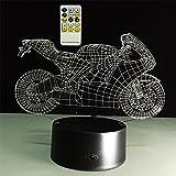 ATD Kreative Ziehen Den Wind Motorrad 3D Optische Täuschung Touch-Farbe 7 Die LED Nachtlicht Schreibtischlampe 15 Tasten Fernbedienung