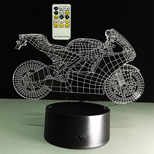 ATD® Kreative Ziehen Den Wind Motorrad 3D Optische Täuschung Touch-Farbe 7 Die LED Nachtlicht Schreibtischlampe 15 Tasten Fernbedienung