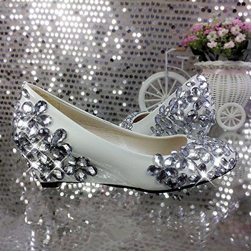 JINGXINSTORE Pendenza di cristallo con matrimonio punta appuntita poco profonda di cristallo bianco con scarpe Nuziale Bianco