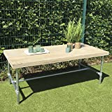 Dadeldo Tisch Möbel Bauholz Wasserrohre 77x200x100cm Natur Kleinmöbel