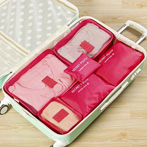 Kleidertaschen-Set 6-teilig IHRKleid® Reisetasche in Koffer Wäschebeutel Schuhbeutel Kosmetik Aufbewahrungstasche Farbwahl (Dunkelblau) Hot pink