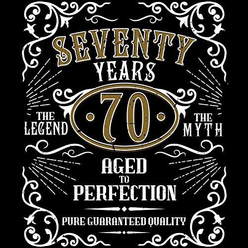 Fashionalarm Herren T-Shirt - Seventy Years Aged To Perfection | Fun Shirt im Whiskey Label Style mit Spruch | Geschenk Idee 70. Geburtstag Party Schwarz