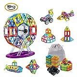 Bloques de Construcción Magnéticos, AMZtronics 92 Piezas Bloques de Construcción de Mosaicos Magnéticos Juguete Educativo de 3D Rueda de la Fortuna Apilamiento Set Juguete y Regalo Perfecto para Niños Pequeños y Adultos