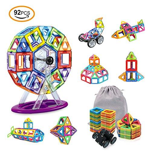 AMZtronics Magnetische Bausteine, 92 Stücke Konstruktionsbausteine Bauklötze Konstruktion Blöcke3D Pädagogisches Lernspielzeug Perfekt Geschenk für Kleinkinder ab 3 Jaheren