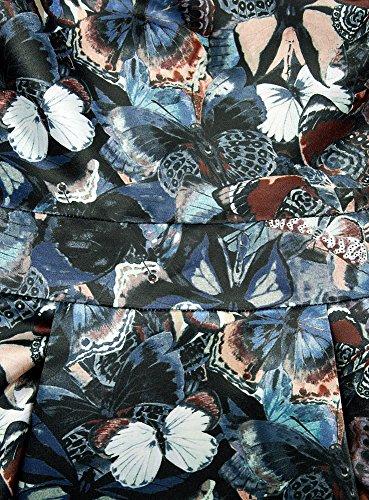 oodji Ultra Femme Robe Ajustée avec Bas Évasé Bleu (7419U)
