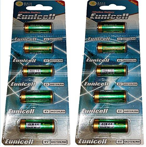 10 x 4LR44 6V (2 Blister a 5 Batterien) Quecksilberfreie Alkaline Batterien PX28, 4G13, 476A, L1325 Markenware EINWEG Eunicell FBA