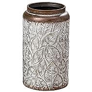 Home Collection - Muebles, decoración - Jarrón decorativo, adorno - Patrón: hoja - Estilo: Étnico, Moderno - Material: piedra - Color: Marrón y gris - H 26 cm