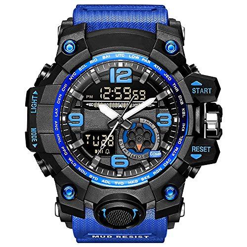 YZPNSSB Vigilanza elettronica maschile forze speciali militari tattici per adulti militari multi-funzione sport impermeabile orologio esterno (Colore : Blu)