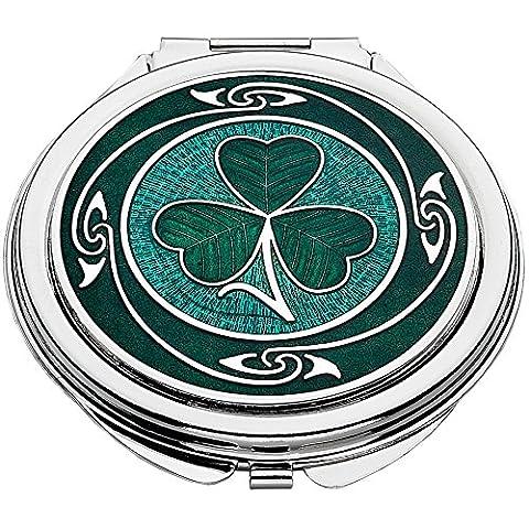 Grüne Emaille Shamrock Design keltische kompakte Spiegel. Geschenk-Box