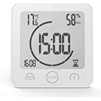 Battery Powered Bathroom Clock with Suction Cup CountDown Timer CAMPSLE Shower Clock Waterproof 3 Mounting Methods LCD Digital Shower Clock Timer with Alarm Temperature Humidity Display