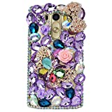 LG G5 Case, LG G5 Bling Case-Spritech(TM) 3D Handmade Colorful Diamond Bling with Butterfly Flower Decoration Decoration Hard Clear Case for LG G5