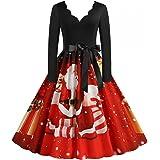 Weihnachten Kleid Damen Elegant V-Ausschnitt Langarm Cocktaikleider Vintage Christmas Retro Abendkleid Partykleid Cocktailkle