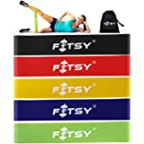 Fitsy Exercise Resistance Loop Bands, 12-inch (Multicolour)-Set of 5