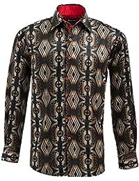 eb48928ad40 Oscar Banks Satin Gold Vector Print Mens Shirt SL6265