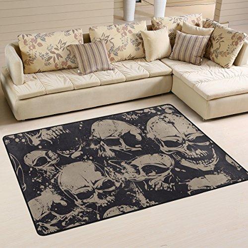 Yibaihe leicht, Bereich Teppich Teppich dekorativen modernes grau Skulls wasserabweisend farbbeständige für Wohnzimmer Schlafzimmer 91x 61cm (3'x 2'), 100% Polyester, Multi, 91 x 61 cm(3' x 2') - Dekorative Teppiche Moderne Teppiche