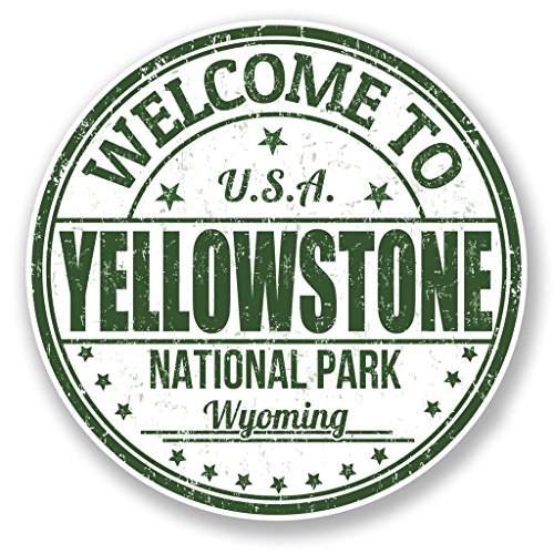Preisvergleich Produktbild 2x Yellowstone National Park USA vinyl Aufkleber Aufkleber Laptop Reise Gepäck Auto Ipad Schild Fun # 6782 - 10cm/100mm Wide