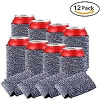 Kobwa - Funda para enfriadores de botellas de cerveza, funda para enfriador de botellas de cerveza, bolsa de refrigeración, de neopreno, suave bebida plegable, para fiesta, picnics, barbacoa (12 piezas)