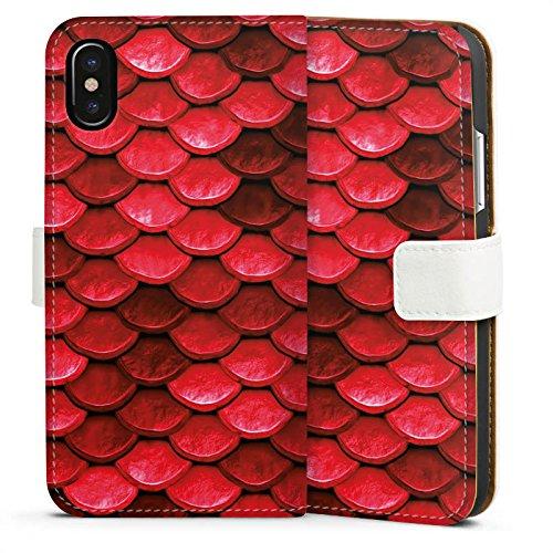 Apple iPhone 5c Silikon Hülle Case Schutzhülle Rote Schuppen Drache Muster Sideflip Tasche weiß