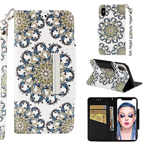 StarCity Schutzhülle für iPhone XS, PU-Leder, Geldbörsen-Stil, Standfunktion, Kartenfächer, Handschlaufe, für iPhone XS Max, Flower Blossom Gold - Blossom Chip