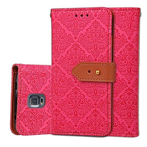 YHUISEN Galaxy S5 Case, Magnetverschluss European Style Wandgemälde Prägeartig PU Leder Flip Wallet Case Mit Stand Und Card Slot Für Samsung Galaxy S5 i9600 ( Color : Black ) Rose