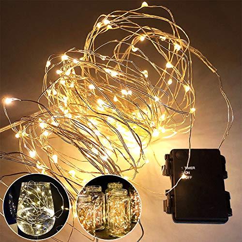 3 Stk Lichterketten 120 Warmweiß LED Lichterkette Batteriebetrieben mit wasserdichten Batteriekasten Weihnachtsschmuck Lichter für Innen/Außen Party, Garten, Weihnachten, Halloween, Hochzeit Deko